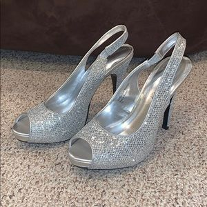 Silver, Sparkly Peep Toe Heels